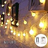SUNNOW LED Guirnalda de Luces - 6M 60 LED Fairy Lights,8Mods,IP65 Impermeable Iluminación de Navidad para Interior Exterior,Bolas Decorativas Luces para Fiesta y Decoración del Jardín (blanco cálido)