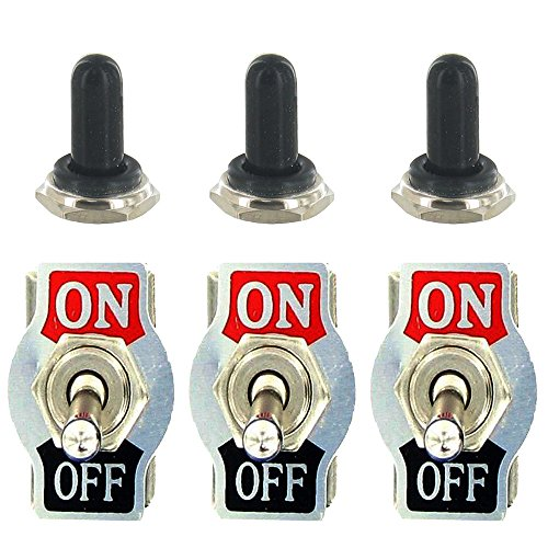 E Support™ 3 X Heavy Duty 20A 125V 15A 250V SPST 2 Terminal Pin ON/OFF Rocker Toggle Switch Metal Bat Waterproof Boot Cap Cover Black Test