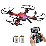 Drone con Telecamera, Potensic® Wifi FPV 2.4GHz 4CH 6-Axis Gyro RC Quadcopter Drone con 2 Megapixel HD Camera, 3D Flips funzione –Rosso immagine