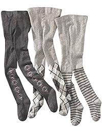 wellyou, Kinder-Strumpfhosen für Mädchen 3er Set, Baby-Strumpfhosen grau, hoher Baumwoll-Anteil, Größe 62 – 146