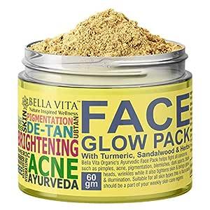 Bella Vita Organic Turmeric Face Pack for Glowing Skin with Sandalwood & Rose, Ayurvedic, 60 g