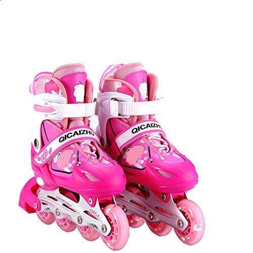 MISS LI Inline Skates Einstellbare Rollschuhe Kinder 3-6 Einstellbare Rollschuhe Männer Und Frauen Skates,Pink-M