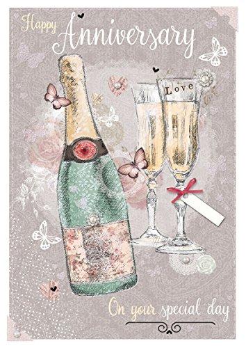 Out of the Blue Offene Karte zum Hochzeitstag, champagner, Gläser & Schmetterlinge 19,7x 13,3cm