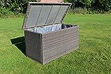 Dreams4Home Auflagenbox 'Saron' - Kissenbox, Polsterbox, Auflagen, 175 x 86 x 90 cm, mit Gasdruckdämpfer, mit Innenbezug, Innenbezug mit Reißverschluss, Gartenmöbel, Aufbewahrung, in vintage grau, in vintage weiß, Farbe:vintage grau