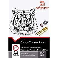 100 hojas de papel de transferencia de carbono negro con juego de punteros en relieve y lapiz mecanico para copia en madera por Raimarket | Papel de carbon de primera calidad
