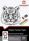 100 Blatt schwarzes Kohle Transferpapier Graphitpapier mit Prägestift-Set und Druckbleistift für Holz, Papier, Segeltuch etc. von Raimarket | Premium Quality Carbon Paper