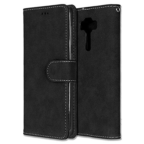 Chreey Asus Zenfone 3 Deluxe 5.5 ZS550KL Hülle, Matt Leder Tasche Retro Handyhülle Magnet Flip Case mit Kartenfach Geldbörse Schutzhülle Etui [Schwarz]