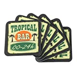 MACOSA PA30018 6er Set Glas-Untersetzer Tropical Bar eckig quadratisch waschbar Kunststoff modern 9 x 9 cm Bar-Accessoires Tisch-Unterlage Tischschutz