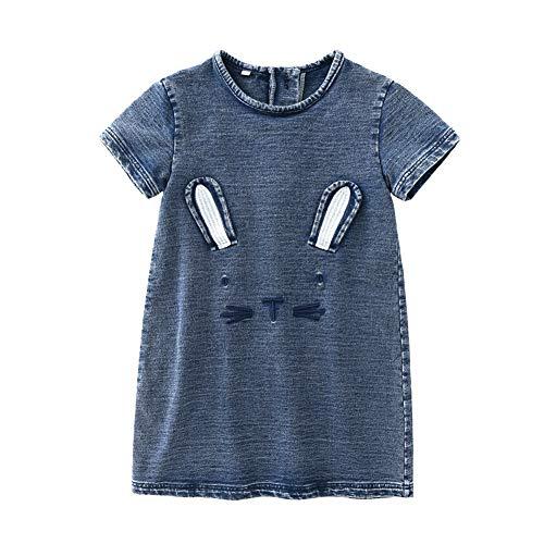 Baby-Mädchen-Denim-Prinzessin Dress Short Sleeve Cute Katze A-Linie One -