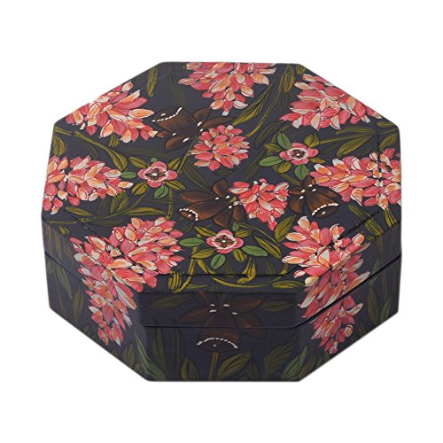 Holz Tränke Schmuck Box - 100% in Indien - Mehrzweck-Speicher-Organisatoren-Aufbewahrungs Schmuck Octagonal Kleine Box mit dekorativem Handgemachte Blumenmustern für Gifting von Storeindya -