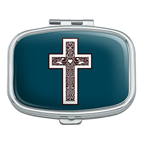 Kreuz mit Herz Christentum Rechteck Pille Fall Schmuckkästchen Geschenk-Box