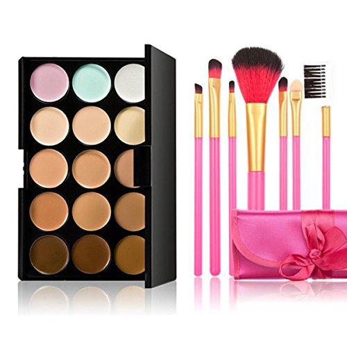 PIXNOR 15 Couleurs Palettes de Maquillage Anti-Cernes Correcteurs + Lot de 7 Brosse de Maquillage