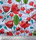 Soimoi Blau Viskose Chiffon Stoff Blätter & Blumen