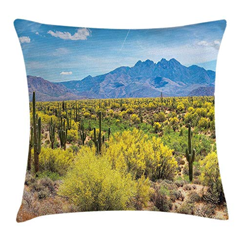Shower Curtain Cactus Decor Throw Pillow Cushion Cover, Photo Image Landscape of Desert Field of Cactus Stones Spikes Leaves Artwork, Decorative Square Accent Pillow Case, 18 X 18 Inches, Multicolor -