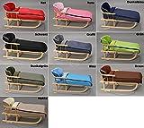 Holzschlitten mit Rückenlehne mit Winterfußsack 108cm Schlitten | 10 Farben (Dunkelblau)