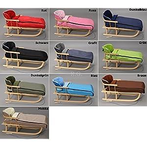 Holzschlitten mit Rückenlehne mit Winterfußsack 108cm Schlitten | 10 Farben