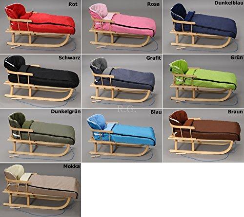 Holzschlitten mit Rückenlehne mit Winterfußsack 108cm Schlitten | 10 Farben (Grau)