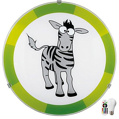 Jugend Wand lampe Kinder Zimmer Motiv Zebra grün Fernbedienung im Set inkl. RGB LED Leuchtmittel