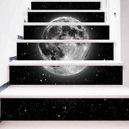 Preisvergleich Produktbild YYH DIY Treppe Aufkleber Selbstklebend 3D Sternenklarer Himmel Treppe Refurbished Entfernbar Wandtattoos ,  1 Set 6 pcs ,  100*18cm