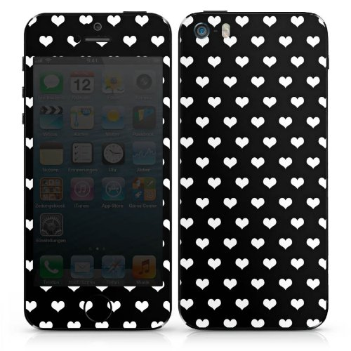 Apple iPhone 4s Case Skin Sticker aus Vinyl-Folie Aufkleber Polka Herzen Muster Schwarz-Weiß DesignSkins® glänzend