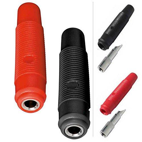 10x erenLine® Bananenkupplung, Labor-Bananenkupplung lang; Set mit 5X rot und 5X schwarz; Ausführung: Lötversion