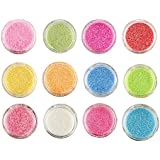 Foolzy 12 Colors Nail Art Make Up Glitter Shimmer Dust Powder Decoration