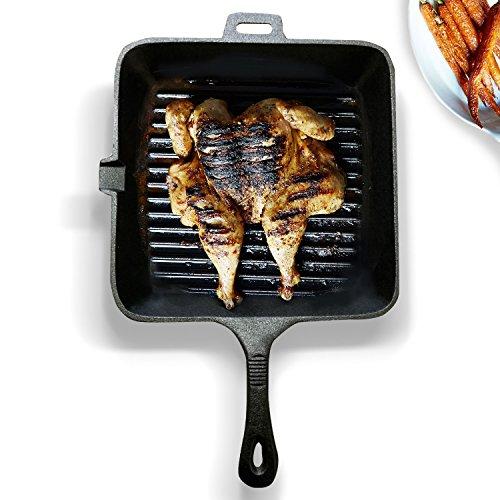 Homiu Brat- und Steakpfanne aus Gusseisen eckig geriffelte Bratfläche
