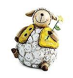 Deko Figur Lamm Schäfchen Schaf sitzend mit Blume 12 cm aus Keramik weiß gelb mit Metall Blume, Dekofigur Lämmchen Gartenfigur für Frühling Ostern