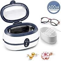 Ultrasonic Cleaner, 600mL Jewellery Cleaner Ultra Sonic Bath with Cleaning Basket - Stainless Steel Tank & Digital Timer for Jewelry Pendant Glasses Watch Metal Coins Denture