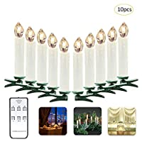 Samber LED Remote Control Candles Lights LED Flameless Candles Christmas Tree Decorative Lights Battery Powered Candles Electric Candles for Christmas Birthday Wedding Party Decor(Warm White/10pcs)