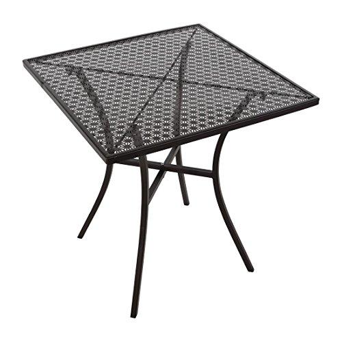 Bolero Table de bistrot en acier carrée et texturée Noir 710 x 700 x 700 mm