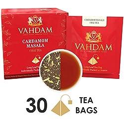 Kardamom-Chai-Tee - 30 Pyramiden-Teebeutel - 100 % NATÜRLICHER ZERSTOSSENER KARDAMOM gemischt mit Gartenfrischem Schwarzen Tee, Indiens Original Kardamom-Teemischung, verpackt an der Quelle, (2 Boxen, je 15 Teebeutel)