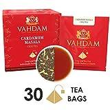 Tè Chai al cardamomo - 30 Bustine piramidali - 100% CARDAMOMO NATURALE TRITATO miscelato con tè nero, la ricetta originale indiana, direttamente dall'India (2 confezioni, 15 bustine per confezione)