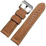 26 mm, in vera pelle stile Vintage, per cinturino orologio, in ferro battuto, con fibbia, colore marrone