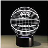 Los Angeles Lakers 3D Veilleuse Lebron James Kobe Américain Basketball Club Lampe Usb Led Éclairage Table Chevet Veilleuse