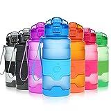 Grsta Sport Trinkflasche, 700ml/24oz - BPA frei Tritan Kunststoff Wasserflasche, Auslaufsicher Sporttrinkflaschen für Laufen, Yoga, Fahrrad, Kinder Schule, Wasser Flaschen mit Sieb, Ein Klick Geöffnet(Blau)