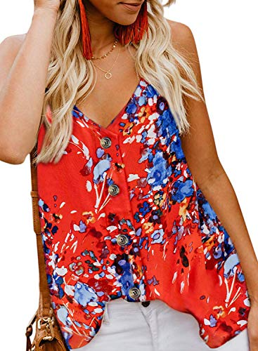 KOKOUK Women's Casual Vest Sleeveless V Neck Button Adjustable Strap Tank Tops Summer Casual Blouse Shirt Size -