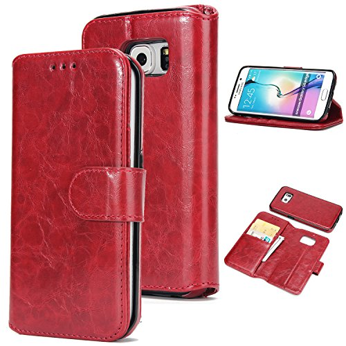 UEEBAI Handyhülle für Galaxy S6 Edge,Premium PU-Leder Wallet Schutzhülle [Abnehmbar] [Magnetverschluss] [Kartenslots] Standfunktion Voller Schutz Flip Cover für Samsung Galaxy S6 Edge - Rot#2 -
