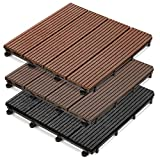 casa pura WPC Terrassenfliesen Prestige | klick Fliese in Holz Optik | einzeln oder im Set | 30x30 cm | Hellbraun (1 Stück)