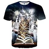 EOWJEED Unisex 3D Lovely Katze Bedruckte Rundhals Kurzarm T-Shirts - XL