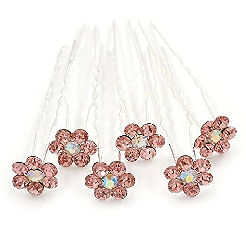 Bridal/ Wedding/ Prom/ Party Set Of 6 Pink Austrian Crystal Daisy Flower Hair Pins In Silver Tone by Avalaya