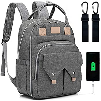 Nappy Changing Bag Earphone Cable Slot Puersit Baby Diaper Bag Change Backpack with Changing Mat