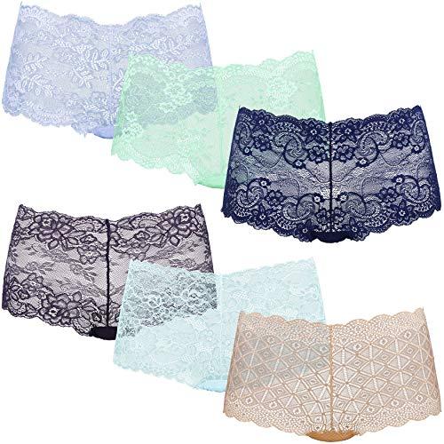 Curve Muse Damen Panty 6er Pack Comfort Sheer Lace Tanga Hipster Boyshorts - - Mittel - Sheer Lace Tanga