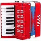 Classic Cantabile 00037968 Bambino Rosso - Acordeón para niños (17 teclas de notas, 8 bajos, correas regulables), color rojo