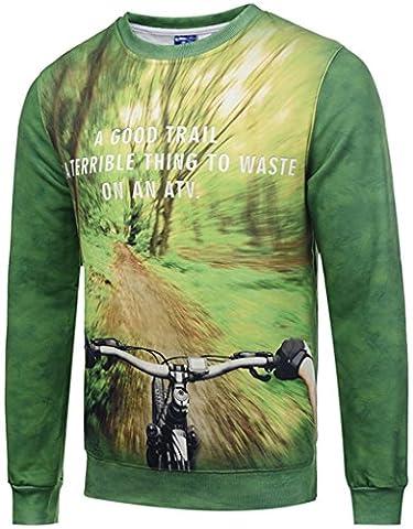Pizoff Unisex lange Ärmel Rundhalsausschnitt Elastische Winter Warm Thicken gefütterte Sweatshirts mit Cartoon Wald-Bike-Downhill 3D Druck