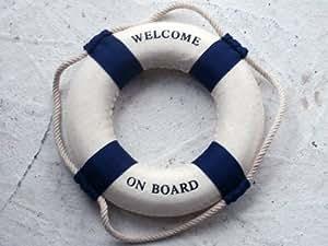 Maritime Deko Rettungsring Welcome on Board blau/weiß