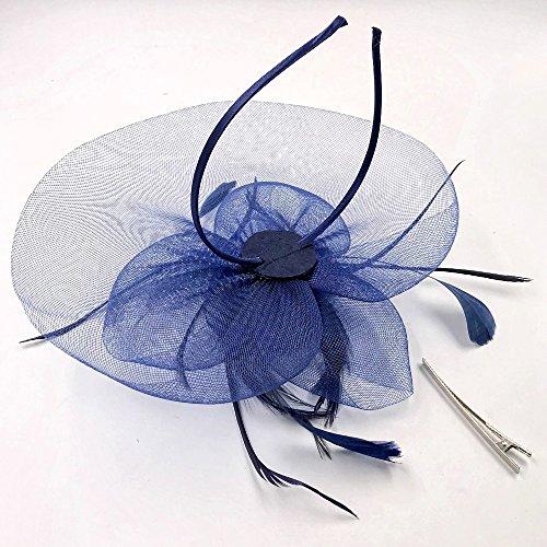JZK® Fiore retina piume velo fascinator blu scuro con cerchietto   mollette  copricapo cerimonia matrimonio festa cocktail banchetto retro. Visualizza  le ... f21558526464