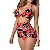 Mose Women's Summer Print High Waist Bikini Set 2Pcs Swimsuit Beachwear Push Up Padded Swimwear Plus Size Bikini Set Large Red