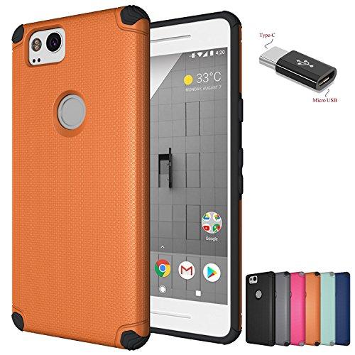 Google Pixel 2 Hülle mit Micro Mit Micro USB zu Typ c Adapter, Wtiaw [ Verstecktes Eisen Blatt] Silikon harte Gummihartweilige hybride Telefon schützende Abdeckung für Google Pixel2-QJ Orange (Cowboy-mini-taste)
