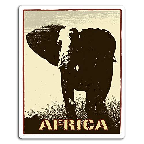 2 x 10 cm África elefante africano pegatinas de vinilo - Etiqueta de equipaje portátil # 17002 (10 cm de altura)